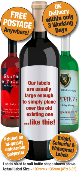 personalised sample wine label design makes a great gift