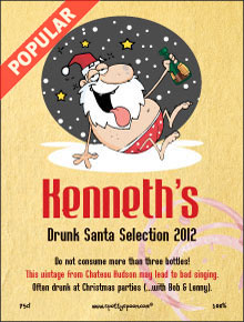 Funny Drunk Santa Label