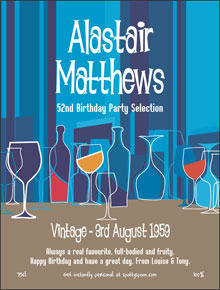 Retro Birthday Party Label