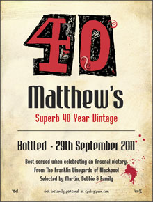 40th Birthday Label