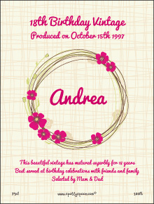 Ring of Pink Flowers Label