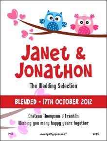 Love Birds Wedding Label